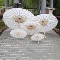 New Eco- friendly Paper Umbrellas White Color Long- handle Bri...