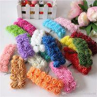 144 adet 2 cm Mini Köpük Gül Yapay Çiçek Buket Renkli Gül Düğün Çiçek Dekorasyon Scrapbooking Sahte Gül Çiçek