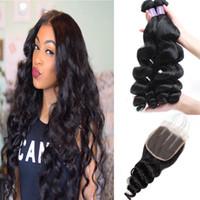 Яки прямые малайзийские пучки человеческих волос с закрытием мокрая волна воды перуанские волосы глубокая свободная волна индийские наращивание волос объемная волна