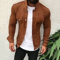 Homens Jackets 2019 New Men Sólidos Jacket Cor manga comprida com bolsos Single-breasted Slim Fit Coats Casual