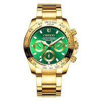 CHENXI Männlichen Uhren Qualitäts-Quarz-Armbanduhr 001 3 Dekorative Dial Gold-Lünette Analog Zifferblatt Analog Zifferblatt Geschenk für Männer