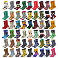 20 Çift / grup Yaratıcı erkek Renkli Çizgili Karikatür Penye Pamuk Mutlu Çorap Ekip Düğün Hediyesi Rahat Çılgın Komik Çorap CrazyQ190401