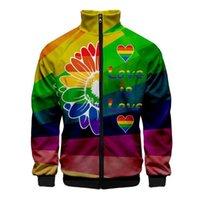 LGBTQ LGBT 프라이드를 사랑하는 사랑 3D 남성의 재킷 슬림 스탠드 칼라 지퍼 자켓 남성 운동복 스트리트 힙합 까마귀 인쇄하기