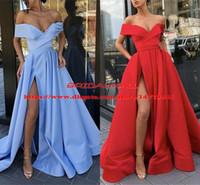 Weg von der Schulter Roter Satin Lange Ballkleider 2019 Einfache Sky Blue High Slit Formale Party Kleider Günstige Abendkleid Benutzerdefinierte vestido de fiesta