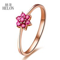 Helon real 14k Ouro Amarelo Flawless Rodada 0.31ct 100% Genuine Natural Rubi Wedding Engagement Mulheres Gemstone moda Anel Jóias