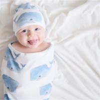 طفل كيس للنوم القبعات الوليد القطن كارتون الديناصور النوم أكياس طفل Swaddles قبعات القرش الزهور الطباعة التقميط بطانية E22602