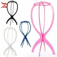3PCS 다채로운 Ajustable 가발 플라스틱 모자 디스플레이 가발 헤드 홀더 16.5x35Cm 마네킹 헤드 / 스탠드 접이식 휴대용 가발 스탠드 스탠드
