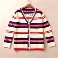 Womens Cardigan Sweater Trend Brand Color Stripe Back Letter Print para mujer Con cuello en v Cardigan Sweater