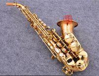 Migliore qualità fosforo rame rivestito curvo sassofono soprano B strumento musicale YANAGISAWA S-991 modello giapponese con boccaglio. Astuccio