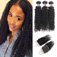 Brasilian Kinky Rizado Ola 3 Paquetes de cabello humano con cierre Barato Virgin Human Hair Extensions ISHow Pelo Trozos al por mayor Precio