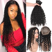 Remy Water Wave Brazilian Virgin Hair 3 Bundles With 360 Ful...