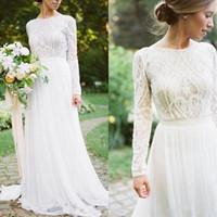 2020 новая богемная страна свадебные платья с длинными рукавами BATEAUE шеи линия кружевная аппликация шифон бого свадебные платья дешево
