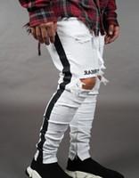 Hiphop Skateboard Bleistift Hosen Herren Jean Pantalones Straße Schwarz Löcher Designer Weiße Streifen Jeans