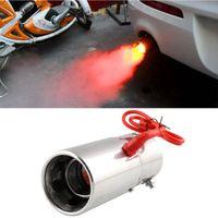 araba evrensel modifikasyon Kırmızı Işık Flaming Paslanmaz Çelik Susturucu İpucu Spitfire Otomobil için LED Egzoz Boru Egzoz Sistemi