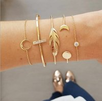 Bracelet jonc à la mode avec cœur plaqué or, feuille de plume, flèche, triangle, bracelets manchette en cercle 8 styles