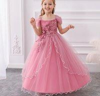 Mädchen lange Kleider aus Schulterstil der Prinzessin Rock Kleine Fee Blume Kleid Bühne Performance Ball Kleid Mädchen Pageant Kleider