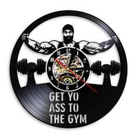 Get Yo Ass To The Gym Workout Haltère Vinyl Record Wall Clock No Pain No Gain Design Wall Fitness Décor mur Montre cadeau pour lui