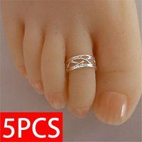 5pcs anello in argento 925 anello da donna elegante anello antico regolabile regolabile, gioielli da spiaggia per piede