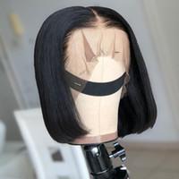 13x4 Kısa Dantel Ön İnsan Saç Peruk 6- 16 İnç Brezilyalı Düz Bob Peruk Öncesi Mızraplı Satine ile Bebek Saç