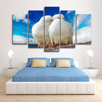 (Only Canvas No Frame) 5pcs Love Doves Birds Animals Wall Art HD Print Canvas Painting Fashion Hanging Pictures for Livingroom Decor