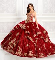 2020 Luxury Red Ball Gown Quinceanera Dresses Sequins Bodice...