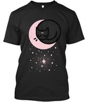 Soft Moon Cat T- shirt Élégant T- shirt Élégant Men Women Unis...