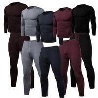 Mens 2pcs Homewear invierno del O cuello de la camiseta de los pantalones de la ropa interior térmica Negro Vino Rojo Marrón Gris