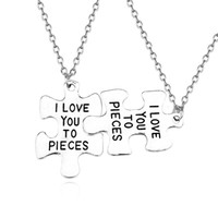 2pcs set I Love You To Pieces Choker Necklace Puzzle Silver ...