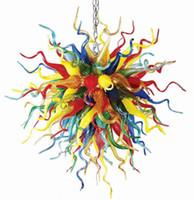Многоцветные светодиодные люстры светильники освещения современного хрусталя подвесной свет для украшения дома вручную окрашенные стекла цепи мяч люстры