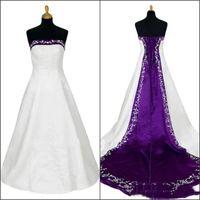 Una linea di stordimento bianco e viola abiti da sposa ricamato delicato rustico nuziale Fancy abiti gotico unico senza spalline Abiti