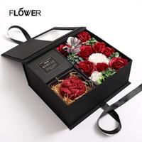 Savon parfumé Saint Valentin artificielle Rose Bathable Ange Rose boîte-cadeau de mariage anniversaire Petite amie romantique Fragrant pétales Fleurs