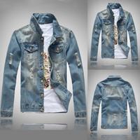 Slim Fit Hommes Denim Bleu Jeans Manteau Longue Manches Trous Veste Spring Casual Streetwear Cowboy Button Vestes Vintage