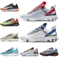 Nike shoes 2019 React Element 55 87 chaussures de course pour femme, Metallic Gold SE, coutures soudées, Total Orange Royal Tint, formateur pour hommes, baskets de sport