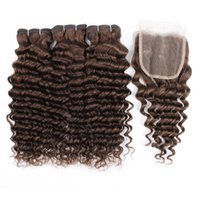 Kisshair # 4 marrón oscuro paquetes de pelo onda profunda con clousre 100% indias tramas del pelo humano con cierre de 4 * 4 de encaje