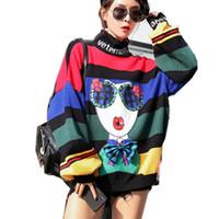 Autumn Turtleneck Rainbow Stripes Camisolas Mulheres Streetwear Senhorita Imprimir Tops malha capuz senhoras Curva-nó frouxo Jumper