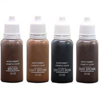 새로운 4 색 문신에 대한 눈썹 영구 메이크업 기본 눈썹 염색에 대한 미국 브로우 Microblading 안료 잉크 다크 라이트 브라운