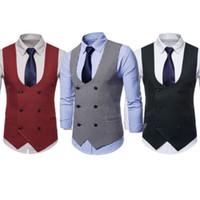 Il nuovo arrivo Abito Gilet For Men Slim Fit Mens Suit Vest maschile Gilet Gilet Homme maniche casual Rivestimento convenzionale Affari