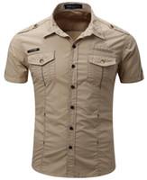 55888 Militares estilo camisa casual Homens Sólidos Color Design algodão Turn Down Collar manga curta uniforme militar ao ar livre camisas frete grátis