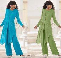 2019 en mousseline de soie élégante à bas prix à manches longues Jewel Neck Volants Taille Plus mère des costumes Pantalons Mariée Mère costumes avec la veste