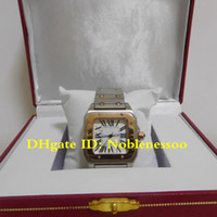Sıcak En Kaliteli Bayanlar İki Tonlu 18KT Sarı Altın Çelik Roma Dial Kuvars 34mm Lady Bayanlar Kadın Saatler