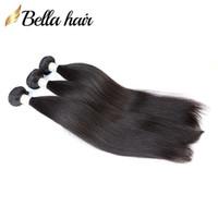 """Bellahair Brazilian Peruano Humano Virgem Bundles 8 """"-30"""" Não processado Reto Humano Humano Extensão Remy Human Hair 3 Pcs / lote"""