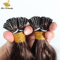 Коричневый цвет Natural Wave Волнистые I наконечник Pre-скрепленные выдвижения волос высокого качества кутикулы выравниванием волос 100g / упаковка