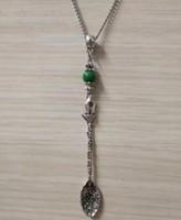 Mode Vintage argent Big Flower Spoon Mix perles charme Pendentif collier approprié chaîne de chandail DIY bijoux Accessoires