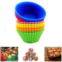 Para hornear Fabricante Molde 6 Color de Silicona Muffin Cake Cupcake Mould Case Bandeja Taza de la hornada Jumbo Mould DH0158