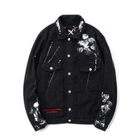 Erkek Hip Hop Denim Ceket Boy Graffiti 2020 Streetwear Kot ceketler Erkek Marka Ripped Coat Boyalı