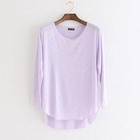 Mulheres de algodão Camiseta Femme Manga Longa Camiseta Mulheres Tops Fashion Trabalho Camisa Solta T-shirt