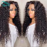 Bythair Derin Kıvırcık Dantel Ön İnsan Saç Peruk Öncesi Mızraplı Satine Brezilyalı Virgin Saç Tam Dantel Peruk ile Bebek Saç Doğal Renk
