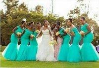 Vestidos da dama de honra nigeriana Plus Size África do Sul Estilo Estilo Sereia Empréstimo de Vestidos de Honra para Casamento Off Turquesa Tulle Festa Dress