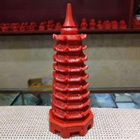 Doğal zencefil dokuz katlı Wenchang Pagoda dekorasyon oyma tavuk kanın Doğrudan satışlar Wenchang Pagoda Wangwen bulmaca çevresel farkındalığı patlama kırmızı