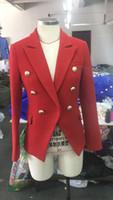 새로운 스타일 프리미엄 블레이저 최고 품질의 원래 디자인 여성 이중 가슴 금속 버클 블레이저 레드 트위드 자켓 코트